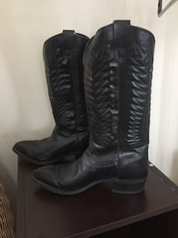 Pair of black leather cowboy boots women size  9