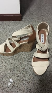 white-and-brown Steve Madden leather strappy cork-wedge sandals Cascade, 59421