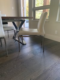 4 matching white leather chairs North Vancouver, V7H