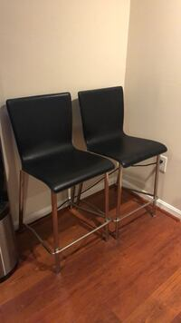 Two black leather padded bar stools Alexandria, 22309