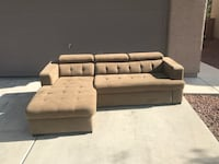 Tan couch w/ chaise pull out w/ storage w/ adjustable head rests