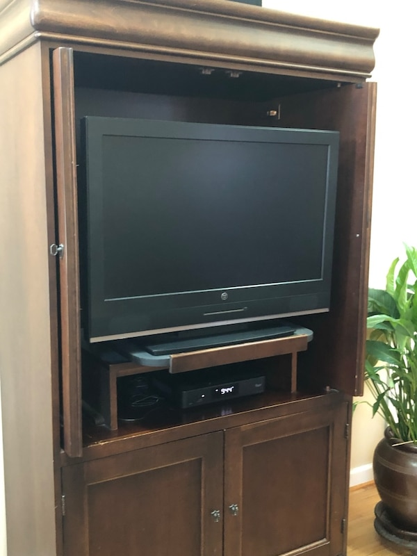 Solid wood entertainment Armoire by Hooker 59e1b7ff-f509-4d1f-a6fb-242785e1df77