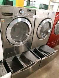 LG FRONT LOAD WASHER AND GAS DRYER SET WITH PEDESTAL WORKING PERFECTLY