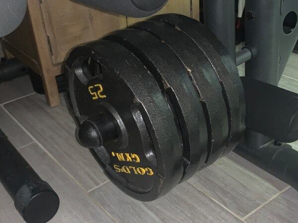 Golds gym Olympic squat and bench set(with weights) ca638f56-129f-48bb-9926-ecb44ef47e2a
