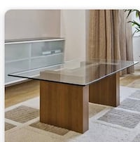 "Glass 3/8"" table top, desk or?. Glass ONLY. The other items not for sale, the glass is !thick with a rounded edging. Elegant, beautiful, classic look for your home or office or??? Ventura, 93001"
