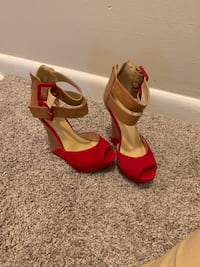 pair of red leather open toe ankle strap heels