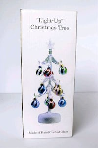 GLASS XMAS Tree LIGHTED +12 Ornaments Tabletop  Sanford, 32771