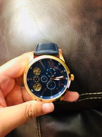 round gold chronograph watch with black leather strap Delta, V4C