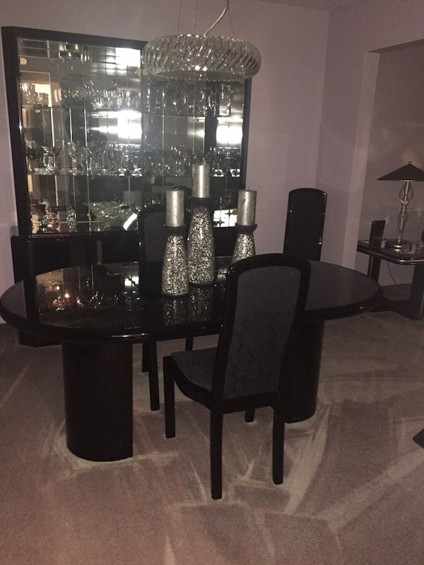 Used Dining Room Set Black Lacquer With China Cabinet For Sale In