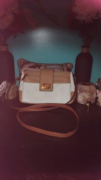 white and brown leather crossbody bag Belle, 25015