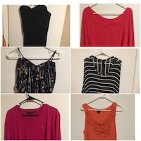 ladies assorted color tops collage