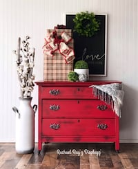 Red vintage farmhouse entryway table or coffee/wine bar