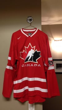 Red and white canada long sleeve jersey