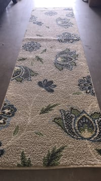 Gray and blue floral print floor runner rug