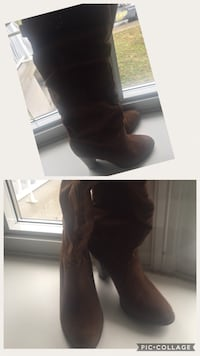 brown suede chunky heeled knee-high boots collage Montréal, H1P 2M1