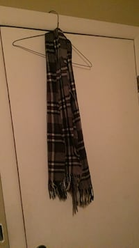 brown, gray and black plaid multi-strand scarf