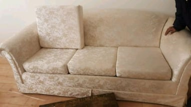 Sofa bed plus 2 seater and 1 seat. Also dining table extra centre piec