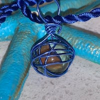 Wire wrapped NAUTICAL BUOY • pendant  On twisted BLUE SILK CORD