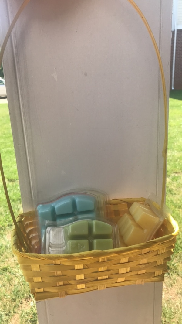 easter basket and candle wax