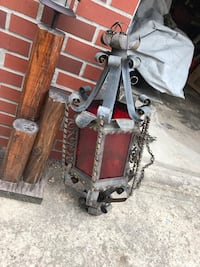 Antique stain glass chandelier