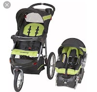 baby's green-and-black travel system