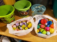 Easter baskets and eggs