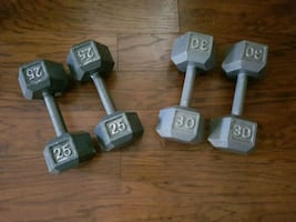 Cast iron hex dumbbells, 2x25 and 2x30, ex cond.