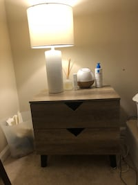 Lamp, storage containers, dresser, nightstand, hangers and more!