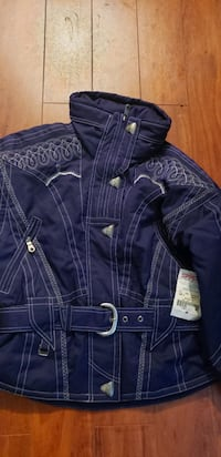 blue leather button up jacket