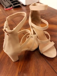 pair of white leather open toe ankle strap heels Las Vegas, 89178
