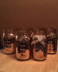 Rose Gold Mason Jar, Battery operated lights included inside jars: 10 Jars Boones Mill, 24065