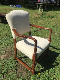 brown wooden framed white padded armchair Surrey, V4N 5W6