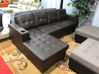 Brand new brown faux leather sectional sofa with cup holder on arm rest warehouse sale  多伦多