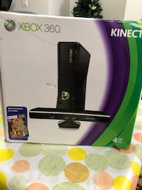 Xbox 360 with Kinect, controller, games, and headset