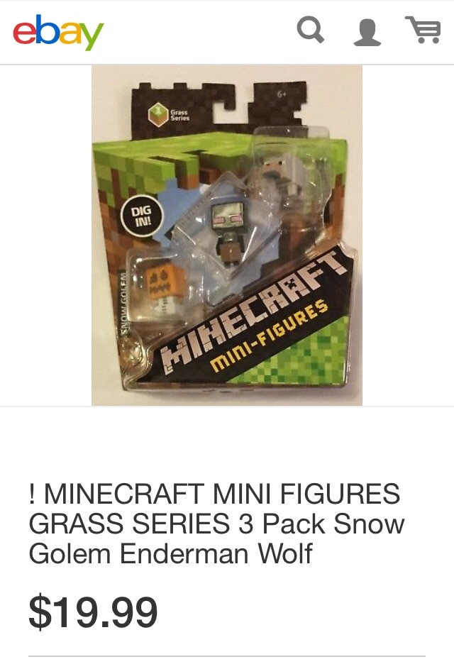 "Minecraft Mini-Figures Grass Series 1 1/"" Wolf Mini Action Figure Mojang"