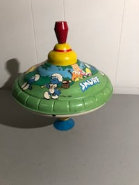 """Vintage Ohio Art Tin Litho Spinning Top """"The Smurfs"""" 1982 Fully Functional~Works.  Taneytown, 21787"""