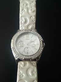 silver and white chronograph watch with white leat Edmonton