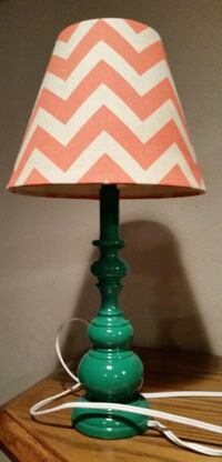 pink, white, and green chevron table lamp Denver, 50622