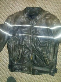 Black leather zip-up jacket Castalia, 44824