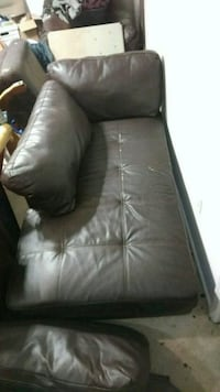Two Black leather sofas (5ft)