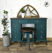 Antique Desk and  Swivel Stool