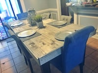rectangular gray wooden table with six chairs dining set null