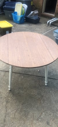 round brown wooden table with white metal base Virginia Beach, 23452