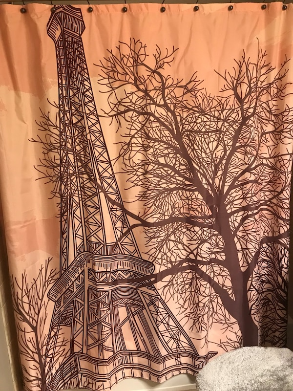 Eiffel Tower shower curtain and canvas wall art