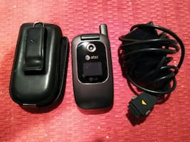 AT&T LG flip phone, charger, case