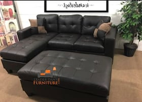 Brand new bonded leather sectional sofa with ottoman
