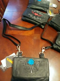 black and blue floral leather crossbody bag