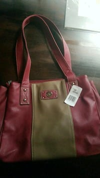 brown and red leather tote bag Winnipeg