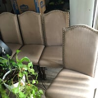 two brown wooden framed gray padded armchairs Washington, 20020