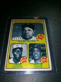 1973 TOPPS RUTH/AARON/MAYS CARD EX COND. Upper Darby, 19026